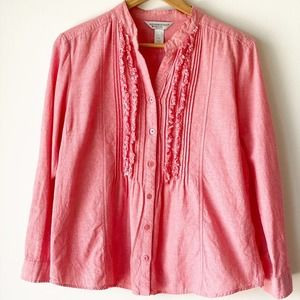 Christopher & Banks Coral Fringe Button Down